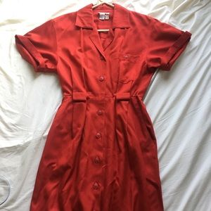 Beautiful Vintage 60's Red Work Dress